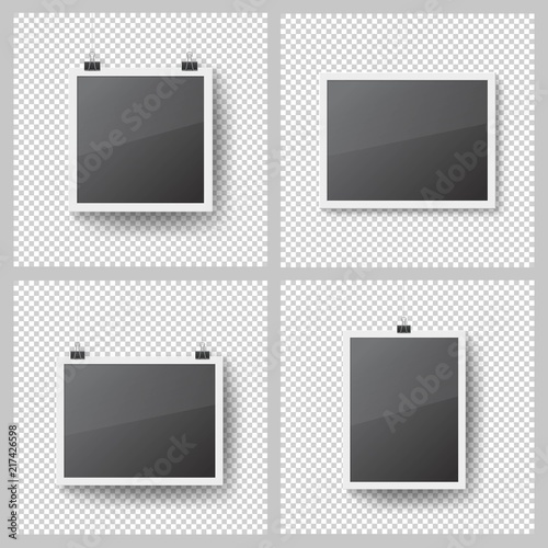 Realistic blank photo frames set on transparent background. Template ...