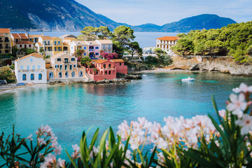 Printed roller blinds Nice Bright white flower blossom in front of turquoise colored bay in Mediterranean sea and beautiful colorful houses in Assos village in Kefalonia, Greece