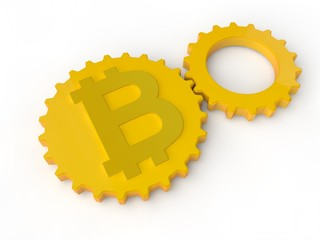 Image of Golden gears, gear and symbol bitcoin. The idea of mining cryptocurrency, currency conversion. 3D rendering, isolated on white background.