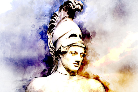 Watercolor, Statue of ancient Athens statesman Pericles. Head in helmet Greek ancient sculpture of warrior.