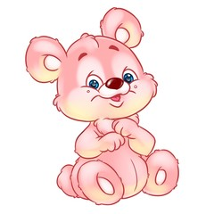 Cheerful bear pink sitting  cartoon illustration isolated image