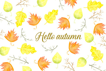 Hello autumn card with leaves and branches