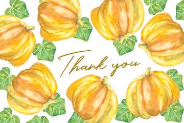 thank you card design with pumpkins