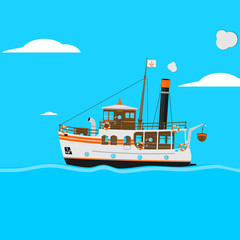 Retro cartoon steam yacht. Fairytale ship on a square blue background. Flat vector.