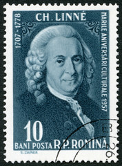 ROMANIA - 1957: shows Carl Linnaeus von Linne (1707-1778), series Portraits