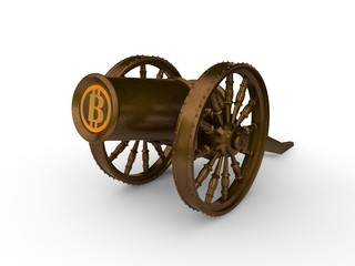 The image of the ancient medieval bronze cannon, and cryptocurrency Bitcoin. Gun shoots round gold coins Bitcoin. The idea of mining, development, reliability and protection. 3D rendering