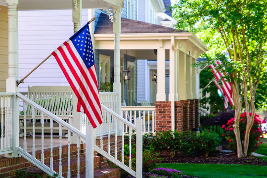 American Flags on Front Porches