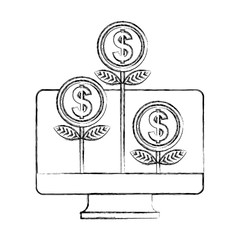 computer plant coins growth business online