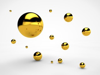 the image of the array floating in space gold spheres of different sizes, balls with reflections and scratches on the surface, the idea of order. Illustration on white background. 3D rendering
