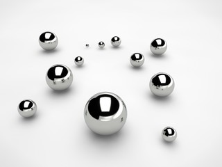 steel balls scattered over the surface of a sphere of different sizes. The idea of disorder and chaos. Abstraction, picture isolated on white background. 3D redering.