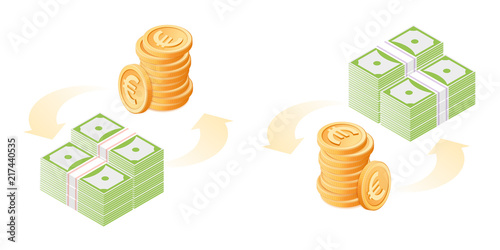 The Exchange Of Euros To Dollars Currency Conversion Process Flat Vector Isometric Ilration
