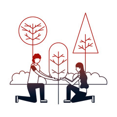 couple with landscape and tree plant isolated