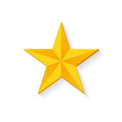 Golden Star 3D Design Vector Illustration Isolated