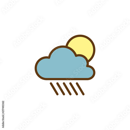 Cloud rain and sun filled outline icon, line vector sign
