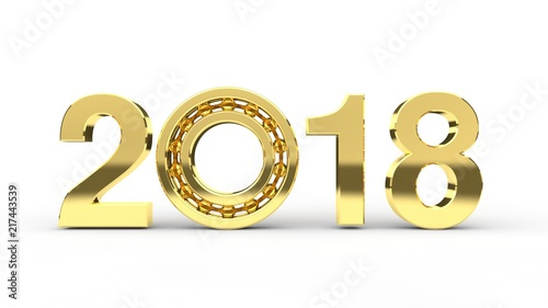 The Image Of Gold Dates 2017 On White Background Golden Ball