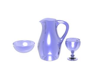 Gläserne Karaffe und Gläser