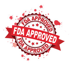 Red rubber stamp with FDA approved concept