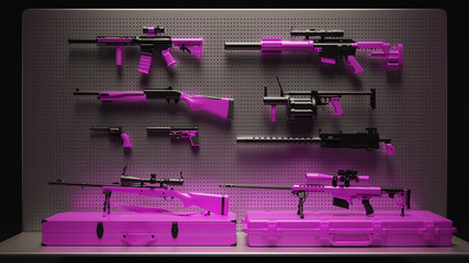 Pink Firearms Display 3d Illustration 3d Rendering