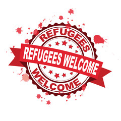 Red rubber stamp with Refugees welcome concept