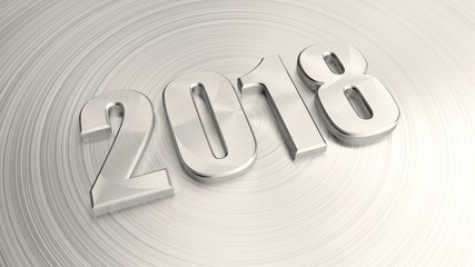 Date of 2018 for calendar, metal numbers, metal background, with scratches along the radius. The idea for the calendar and the new year holiday. 3D rendering