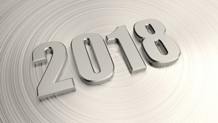 Date of 2018 for calendar, metal numbers, metal background platinum and silver, with scratches along the radius. The idea for the calendar and the new year holiday. 3D rendering