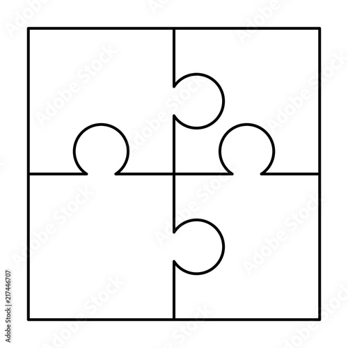 4 White Puzzles Pieces Arranged In A Square Jigsaw Puzzle Template Ready For Print