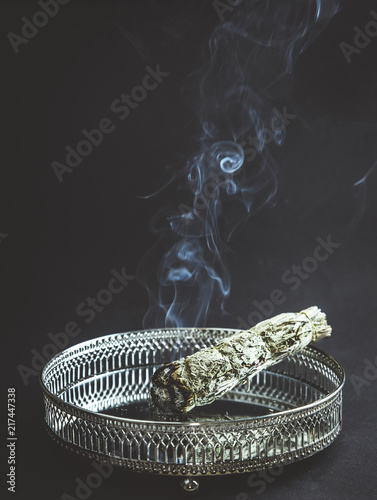 Herb bundle of dried sage smudge stick with a lot of