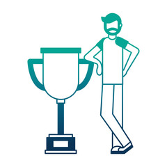 young man with trophy avatar character