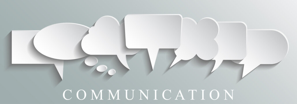 White icons communication concept - stock vector