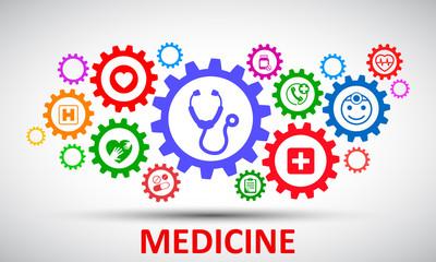 Medecine and Health flat concept mechanism – stock vector