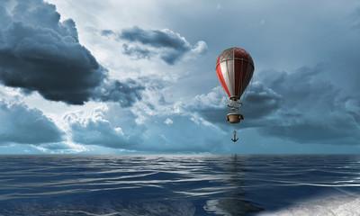 Air balloon over water. Mixed media