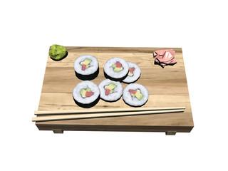 Brett mit Sushi Stäbchen und Beilagen