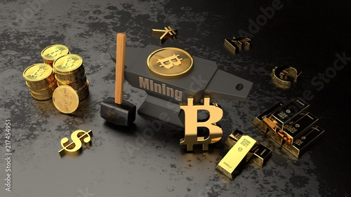 Anvil Hammer And Gold Bars Coins Crypto Currencies And Currency