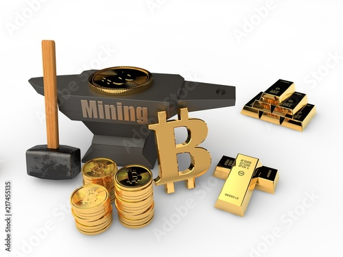 The Anvil And Hammer On The Metal Background And Lots Of Gold Ingots