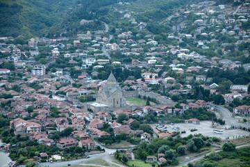 view of Mtskheta from Jvari monastery. Georgia.