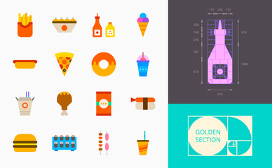 color fast food icons on a white background
