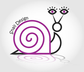 Vector line logo snail with human eyes