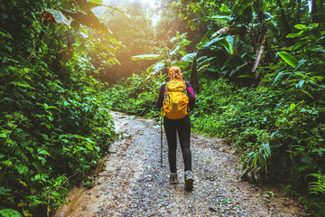Photographer asian woman. Traveling photograph Nature. travel relax in the holiday walk in the forest.