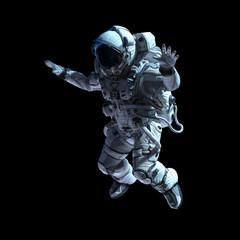 Astronaut in darkness. Mixed media