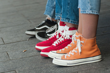 closeup of colorful sneakers in the street