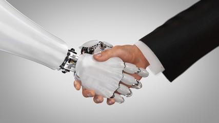 Robot and Man Shaking Hands. 3d render