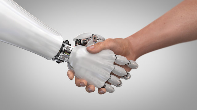 Robot and Man Shaking Hands. 3d render