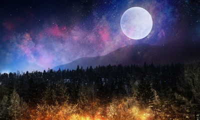 Full moon in night starry sky