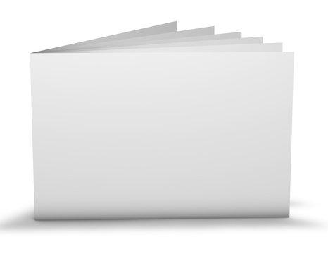 Horizontal landscape orientation rectangular leaflet white cover mockup.