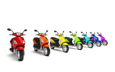 3D Render. Row of group modern multicolored motor scooters isolated on white background. Perspective. wide angle.