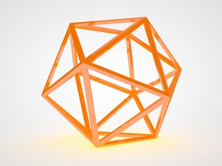 the image fiery octagonal lattice, geometrical figures in yellow on a white background. Abstraction, the idea of perfection and wisdom. 3D rendering