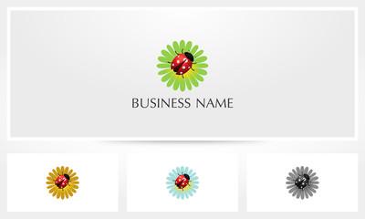 Ladybug On Flower Logo