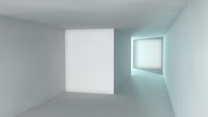 stylized image of a room made of white cubes, illuminated by the light. Abstraction, the idea of cleanliness and order, space and time, past and future, borders and infinity. 3D rendering
