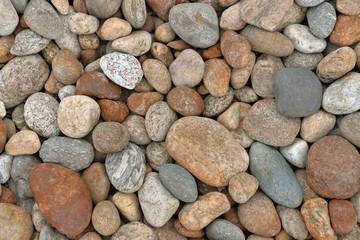 Stone beach. Background of river stones. Large stones