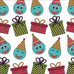 emoji kawaii with hat party and gift box present pattern